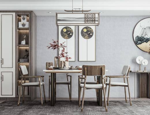 新中式, 餐厅, 家装, 3d模型, 场景