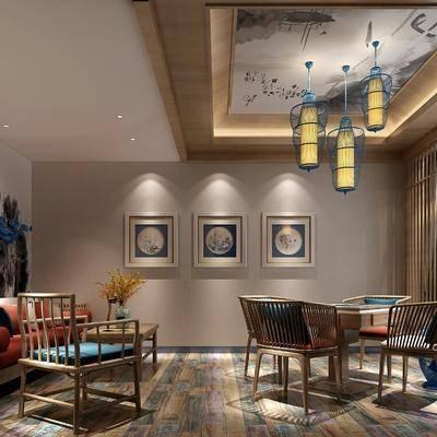 新中式棋牌室, 新中式茶室, 茶室, 中式沙发组合, 中式吊灯