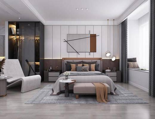 双人床, 墙饰, 窗帘, 吊灯, 床尾踏, 地毯, 衣柜