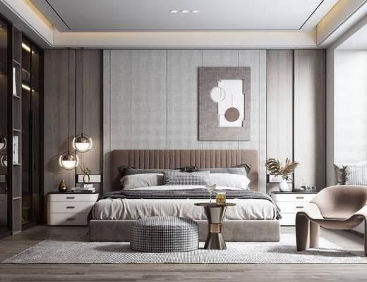 双人床, 床具组合, 单椅, 床头柜, 吊灯, 衣柜