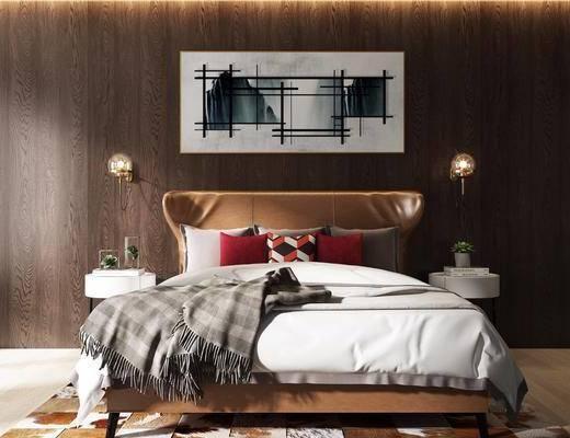 双人床, 床头柜, 装饰画, 挂画, 壁灯, 现代