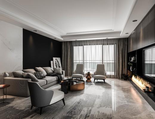 现代简约, 客厅, 沙发茶几组合, 沙发椅
