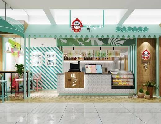 奶茶店, 北欧奶茶店, 桌椅组合, 单椅, 前台, 收银台, 北欧
