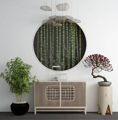 端景台, 玄关柜, 植物盆栽, 摆件组合, 新中式实木端景台玄关柜3d模型