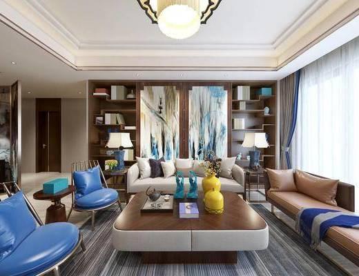 新中式客厅, 新中式书柜, 沙发组合, 茶几, 装饰摆件