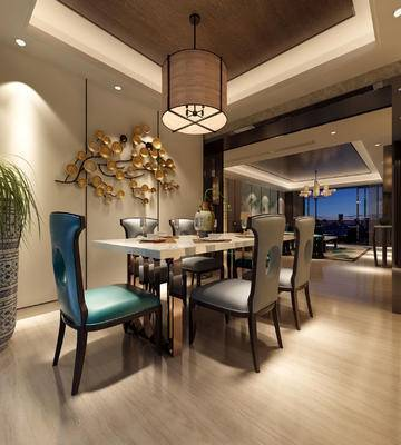 餐厅, 餐桌椅, 椅子, 装饰品, 绿植, 中式吊灯, 客厅