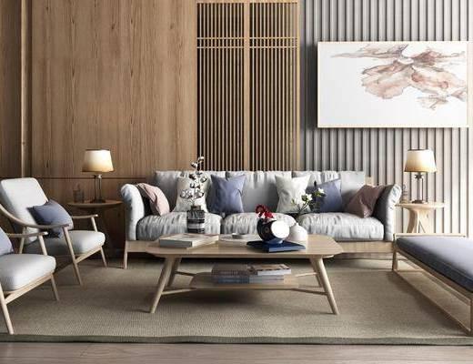 木质隔断, 沙发组合, 抱枕, 边几, 台灯, 装饰画, 单椅