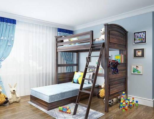 上下床, 儿童床, 实木, 双层床, 现代美式, 现代, 玩具, 儿童房
