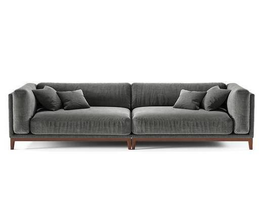 现代简约, 深灰色, 沙发, 多人沙发