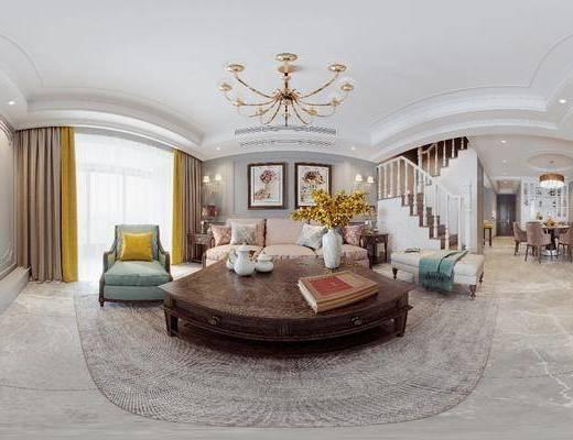 美式客餐厅, 客厅, 餐厅, 沙发组合, 沙发茶几组合, 餐桌椅组合, 挂画组合, 楼梯, 书柜组合, 桌椅组合, 吊灯组合