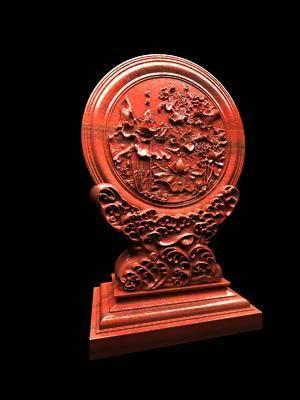 荷花浮雕, 红木浮雕, 摆件, 装饰品, 工艺品, 中式
