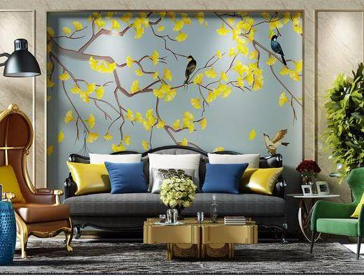 沙发组合, 茶几, 摆件, 新中式沙发组合, 植物, 盆栽, 落地灯, 单椅, 新中式
