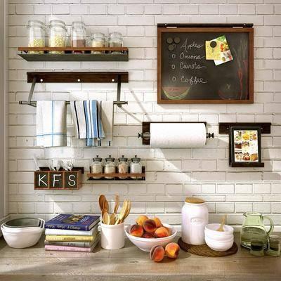 美式厨房用品组合, 装饰, 写字板, 勺子, 置物架