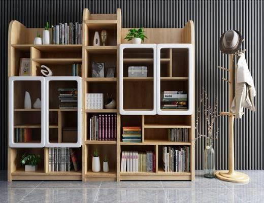 现代, 装饰架, 书柜, 书籍