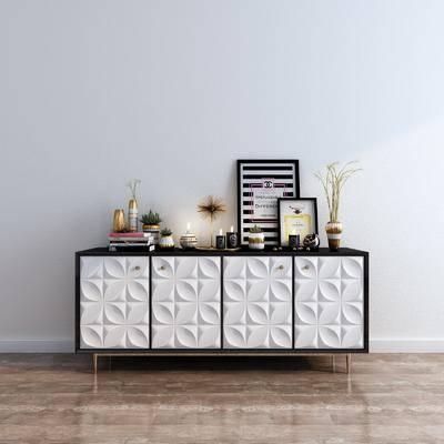 边柜, 装饰柜, 陈设品, 摆件, 装饰画, 花瓶