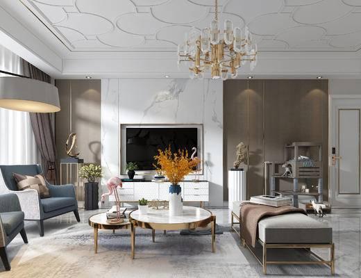 现代客餐厅, 吊灯, 落地灯, 挂画, 沙发, 茶几, 餐桌椅, 摆件
