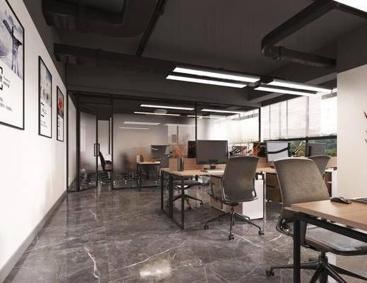 办公室, 办公桌, 电脑桌, 吊灯, 装饰画