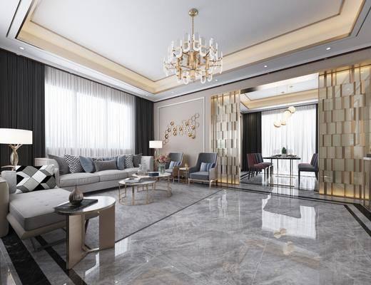 现代客厅, 沙发组合, 现代沙发, 现代吊灯, 壁灯, 电视柜, 餐厅, 现代餐厅, 桌椅组合, 台灯, 边几, 茶几, 吊灯, 水晶吊灯, 墙饰