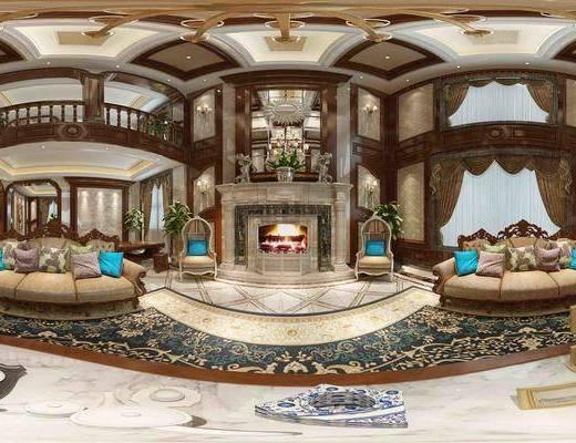客厅, 欧式, 沙发组合, 茶几, 摆件