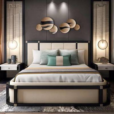 新中式, 新中式双人床, 双人床组合, 双人床, 床头柜, 下得乐3888套模型合辑