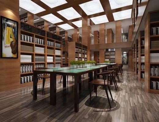 图书馆, 书桌椅, 桌子, 椅子, 书柜, 置物柜, 书籍, 装饰画