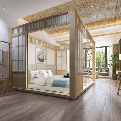 卧室, 双人床, 边柜, 单人沙发椅, 吊灯, 装饰画, 绿植, 日式