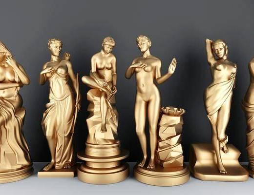 摆件组合, 雕塑摆件, 金属雕塑, 现代