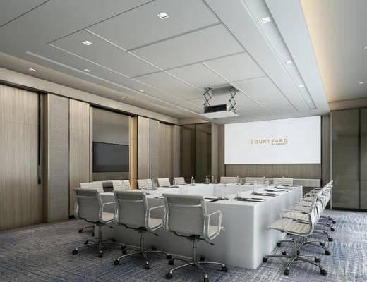 会议室, 会议桌, 办公椅, 办公桌, 现代