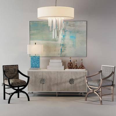 新古典金属布艺单椅
