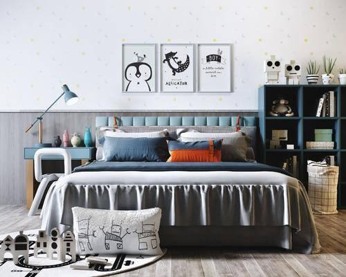 北欧床具组合, 双人床, 置物柜, 挂画, 床头柜