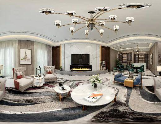 娱乐室, 沙发, 麻将桌, 灯具