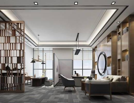 现代, 新中式, 沙发组合, 隔断, 装饰柜, 置物柜, 吊灯, 桌椅组合, 端景台