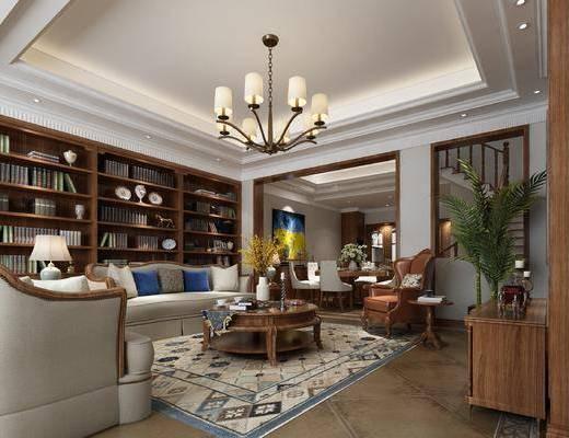 客厅, 餐厅, 美式客餐厅, 沙发组合, 书柜, 书籍, 摆件, 茶几, 单椅, 桌椅组合, 摆件组合, 美式