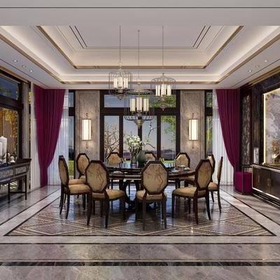 新中式餐厅, 新中式, 餐厅, 餐桌椅, 吊灯, 中式边柜