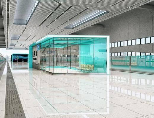 地铁车站, 站厅站台, 盲道, 候车厅, 现代