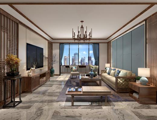 中式客厅, 中式沙发, 中式, 沙发组合, 客厅, 沙发茶几组合