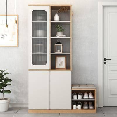 柜架组合, 置物柜, 装饰画, 盆栽植物, 鞋柜