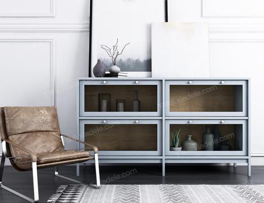 现代, 装饰柜, 椅子, 装饰画, 装饰品, 摆件