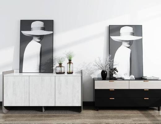 装饰柜, 柜架组合, 摆件组合, 装饰画, 花瓶