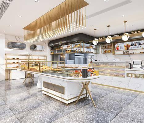 现代甜品店, 现代面包店, 现代货架