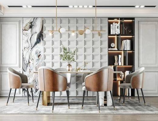现代轻奢餐厅, 餐桌椅, 装饰柜, 吊灯