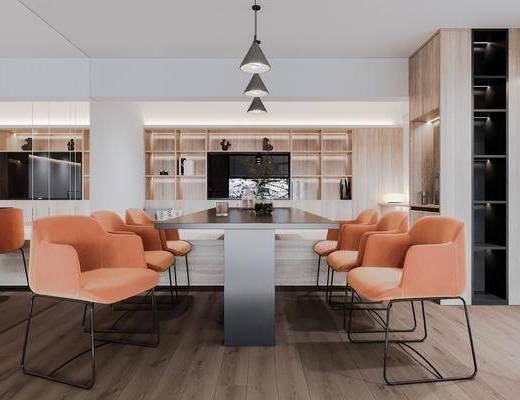 现代会议室, 会议桌椅, 吊灯