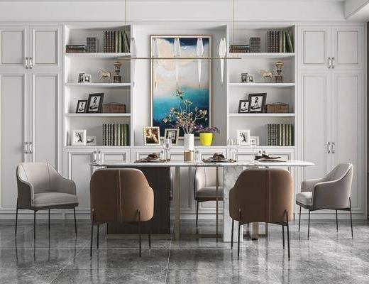 餐桌椅, 吊灯, 挂画, 酒柜, 摆件, 餐具组合