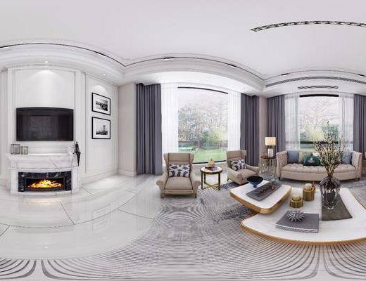 歐式客廳, 客廳, 沙發組合, 餐廳, 餐桌椅