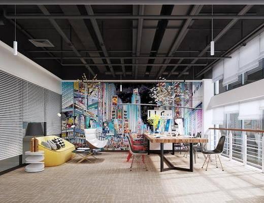 吊灯, 台灯, 办公室, 桌椅组合, 沙发组合, 背景墙