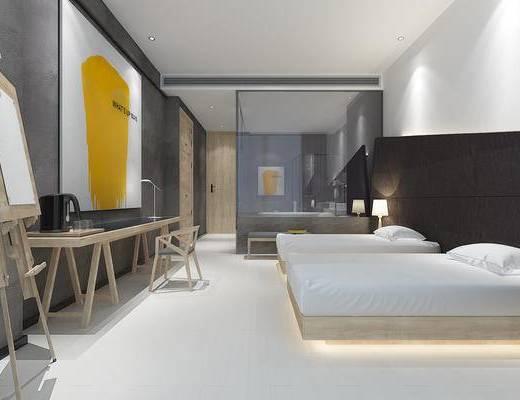 客房, 现代, 双人床, 书桌, 椅子