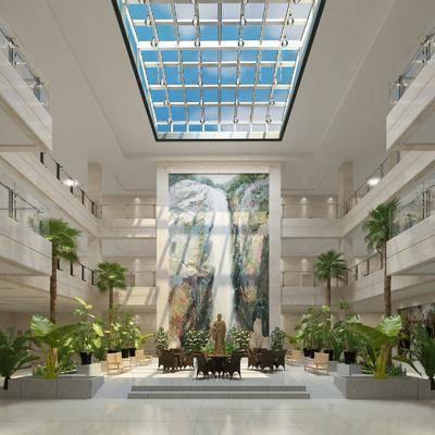 大堂, 大厅, 现代酒店大堂大厅, 桌椅组合, 单椅, 植物, 绿植, 现代