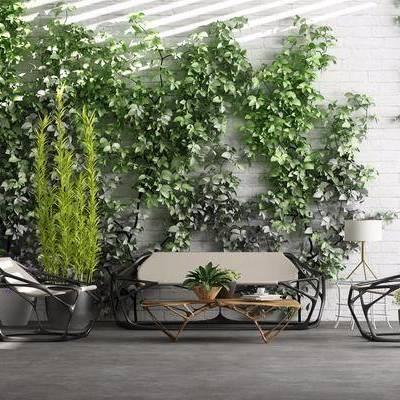 现代园林小景, 现代, 沙发组合, 茶几, 椅子, 异形茶几, 异形沙发