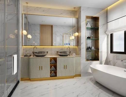 卫生间, 现代, 卫浴, 浴缸, 吊灯, 镜, 洗手台