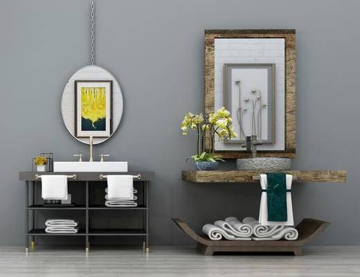洗手台, 洗手盆, 洗手柜组合, 装饰镜, 装饰画, 挂画, 装饰架, 工业风